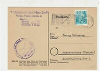 DDR 1954 Karl-Marx-Stadt Cancel People with Flags Slogan Stamps Card Ref 27929