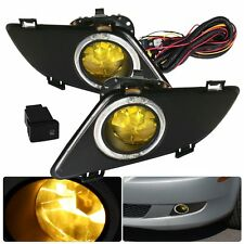 Chrome Yellow Bumper Driving Fog Light Lamp Switch Wires For Mazda 6 2003-2005