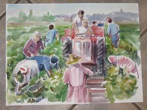 Scène de vigne, Aquarelle signée Guy Fantou, époque 20ème.