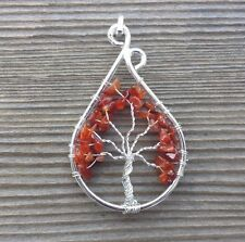 DROP/PEACOCK STYLE CARNELIAN TREE OF LIFE  WIRE WRAPPED PENDANT GEMSTONE