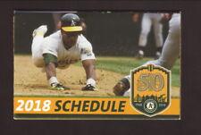 Rickey Henderson--2018 Oakland Athletics Pocket Schedule--Cache Creek Casino