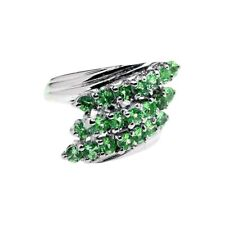 Chrome Diopside Bypass three row Ring Sterling Silver Rhodium over
