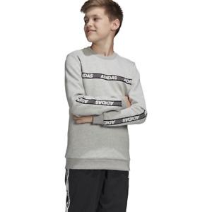 Adidas Kids Sweatshirt Sports ID Running Crew Training Gym Boys Lifestyle FK4821