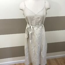 NWT United Colors Of Benetton Women's Dress Natural Linen V Neck Tie Belt L $78