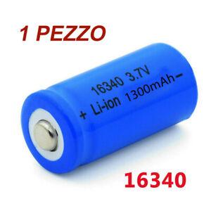 BATTERIA RICARICABILE CR123A 16340 AL LITIO 1300MAH 3.7V PILA MEZZA TORCIA LED