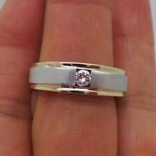 STUNNING 14K 2TONE MEN'S DIAMOND BAND RING .15 ct  SZ 10.5  G111390-13  8.8grams