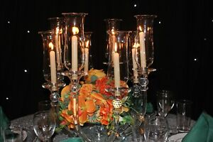 8 arm Clear Crystal Candelabra Centrepiece for hire 10 available, candlestick