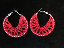"""Crochet Earrings Red & Silver 2"""""""