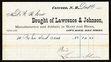 1874 Bill head Lawrence & Johnson Manufacturers of Boots + Shoes of Concord NH