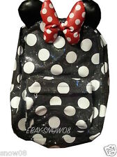 MINNIE MOUSE Sequined with Ears and Bow BackPack Bag Disney Park New With Tags