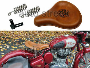 Front Solo Leather Seat Brown Tan For Royal Enfield Classic 500cc 350cc