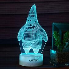 SpongeBob Patrick Star 3D LED Night Light Touch Lamp Brithday Gift 7Color Change