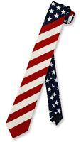 "American Flag Mens Skinny Neck Tie USA Patriotic 2.5"" Narrow Thin NeckTie"