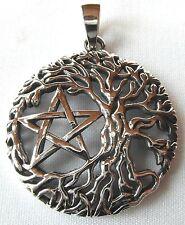 Sterling Silver (925)  Pentagram  In  Tree Of  Life  Pendant   !!        New !!
