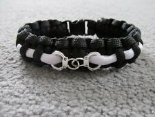"Paracord Police Bracelet 8"" Black + White + Handcuffs *PC WPC Gift Present*"