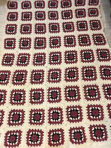 "Handmade Granny Square Afghan Crochet 3D Flowers Blanket Pink Green Cream 65x90"""