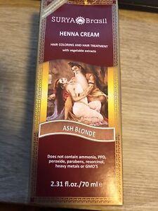 Surya Brasil Products Brown Henna Cream Ash Blonde 2.31 fl.oz. 70mL NEW