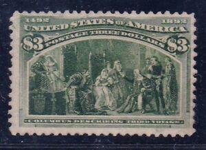 US 243 $3 Vivid yel green 1893 Columbian Expo Third Voyage VF (see description)