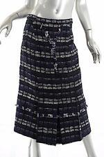 PROENZA SCHOULER BOUCLÉ Black & White Long Skirt Lined Cotton Blend Kick Pleat 8