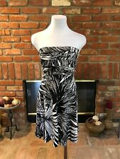 CACHE XS Abstract Geometric Black & White Event Party Cocktail Strapless Dress