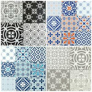 Floor Tiles Self Adhesive Vinyl Flooring Kitchen Bathroom Patterned Grey Blue