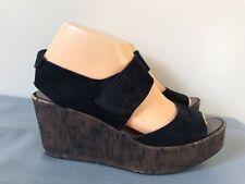 Pedro Garcia Black Leather Suede Wedge Sandals Cork Size 37.5-US 7.5 Women Shoes