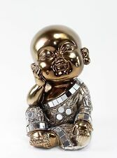 Feng Shui Bronze Happy Face Buddha Monk Electroplated Kasaya Home Decor Statues