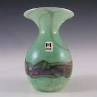 Mdina Maltese Marbled Green + Grey Glass Vase - Signed