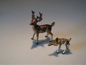 TWO VINTAGE 1960'S MINIATURE BONE CHINA BUCK AND DEER