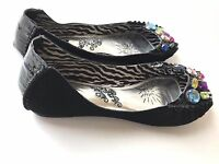 Naughty Monkey flats peeptoe jeweled black women's 7.5