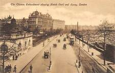 The Thames Embankment, Hotels Cecil and Savoy, Street Vintage Cars Tram London