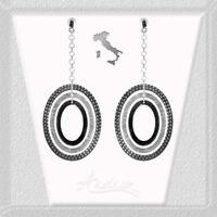 Triple Oval Dangle Three Tone 925 Sterling Silver Earrings Italy 85mm x 35mm
