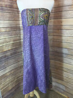 Synergy Silk Purple Paisley Print Strapless Maxi Dress Empire Waist Size Large