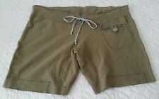 Free People Knit Shorts in Solid Olive Drab Drawstring Waist Raw Hem Size S