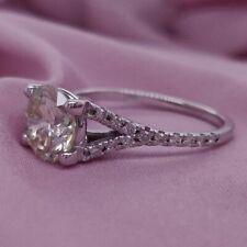 Diamond Engagement Ring Round Enhanced 14K White Gold GIL Certified SI1