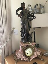 More details for tall figural french marble clock 'muse champetre' par louis moreau. bell chimes