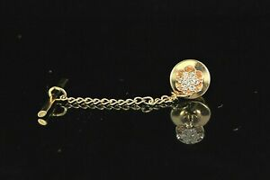 $1,550 Vintage Men's 14K Solid Yellow Gold Cluster Round Diamond Tie Tac Pin