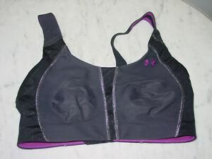 Womens Under Armour 1233078 Black/Viola Heat Gear Sports Bra! Size 34DD
