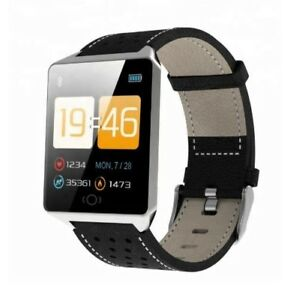 CK19 Smart Watch with Leather Strap - Health Monitor for iPhone Samsung Android