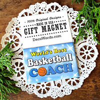 * World's Best Basketball Coach * Gift Magnet * Made in USA New in Pkg sports