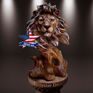 LION WOOD SCULPTURE STATUE FIGURE ARTWORK PICTURE PAINTING ICON DECOR PANEL 3D