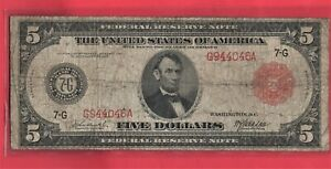 ***  1914  $5.00 RED SEAL FED RES NOTE   ****