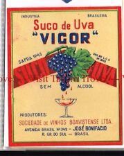Unused 1940s BRASIL Rio Grande Del Sul Boavistense Suco De Uva VIGOR Label