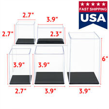 "Us Acrylic Display Case 2.3/2.7/3.9/6"" H Perspex Box Black Base Dustproof Figure"