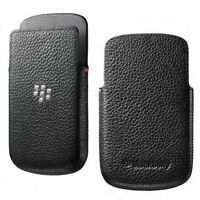 Black Leather Pocket Pouch For BlackBerry Q10 with Proximity Sensor