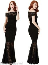Goddiva Black Lace Bardot Maxi Evening Fishtail Mermaid Formal Party Dress Prom 10