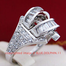 Real Solid 9k White Gold Engagement Wedding Dress Cocktail Ring Simulate Diamond