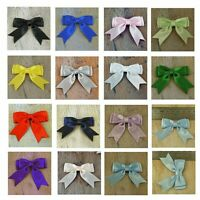 "Pack of 10, Small Ready Made  2"", Satin Ribbon Double Bows - 16 Colours"