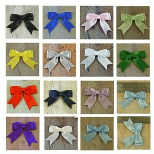 """Pack of 10, Small Ready Made  2"""", Satin Ribbon Double Bows - 17 Colours"""