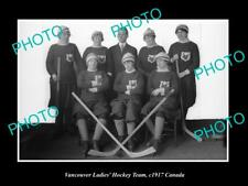 Old 6 X 4 Historic Photo Of The Vancouver Ladies Ice Hockey Team c1917